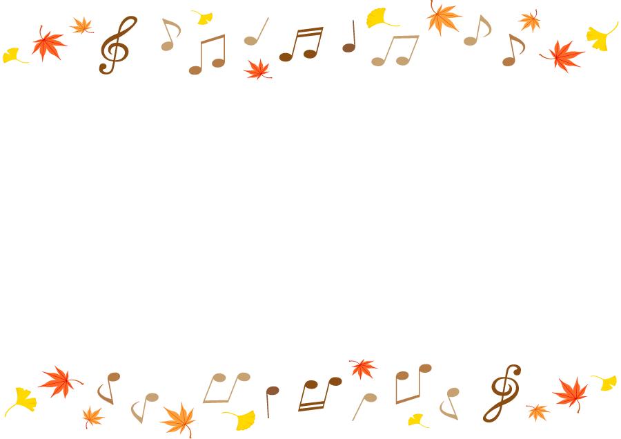 フリーイラスト 音符ともみじといちょうの葉の飾り枠