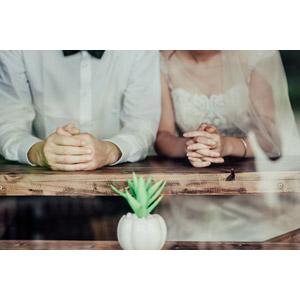フリー写真, 人物, カップル, 花婿(新郎), 花嫁(新婦), 結婚式(ブライダル), 二人, ウェディングドレス, 寄り添う, 手を組む