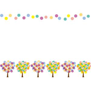 フリーイラスト, ベクター画像, AI, 背景, フレーム, 上下フレーム, 水玉模様(ドット柄), 樹木