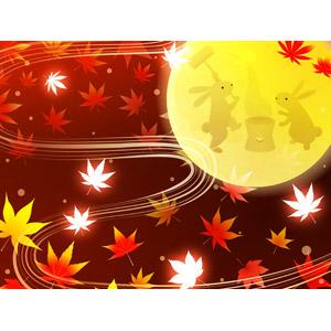 フリーイラスト, ベクター画像, AI, 背景, 満月, 月, 年中行事, お月見(観月), 十五夜(中秋の名月), 秋, 月の兎, 餅つき, 9月, 植物, 葉っぱ, もみじ(カエデ), 紅葉(黄葉), 落葉(落ち葉)