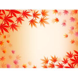 フリーイラスト, ベクター画像, AI, 背景, フレーム, 囲みフレーム, 植物, 葉っぱ, もみじ(カエデ), 紅葉(黄葉), 落葉(落ち葉), 秋