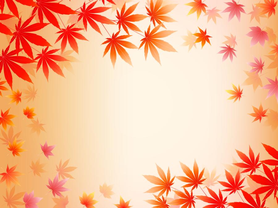 フリーイラスト 紅葉した楓の葉の飾り枠
