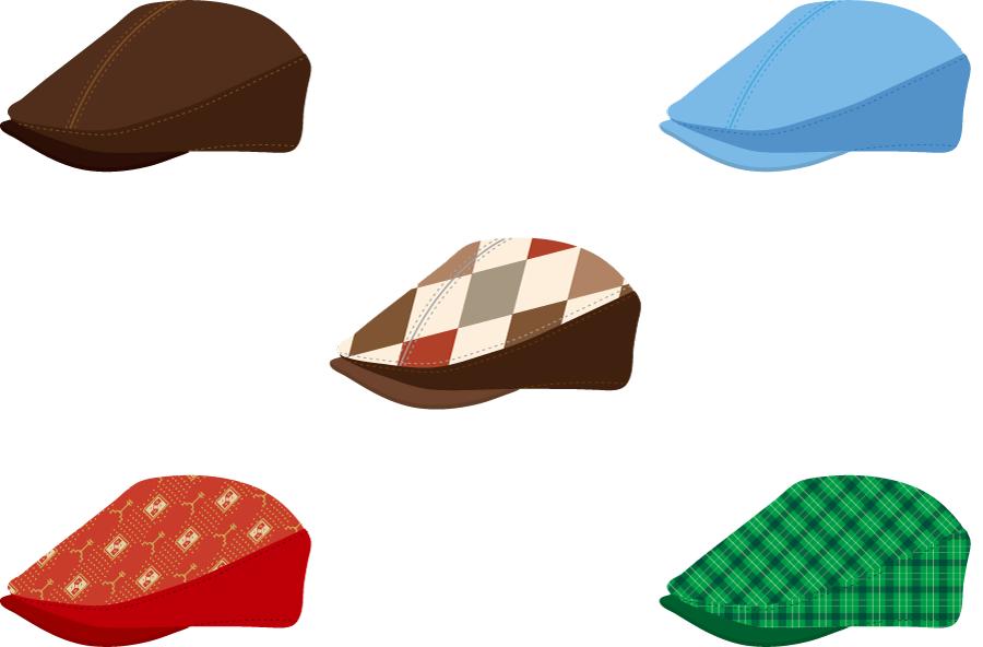 フリーイラスト 5種類のハンチング帽のセット