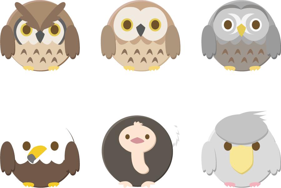 フリーイラスト フクロウ、ワシ、ダチョウ、ハシビロコウの丸い鳥のセット