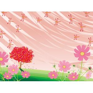 フリーイラスト, ベクター画像, AI, 背景, 樹木, 紅葉(黄葉), 秋, 植物, 花, コスモス(秋桜), ピンク色の花, とんぼ(トンボ), 赤とんぼ(赤トンボ), 夕暮れ(夕方), 夕焼け
