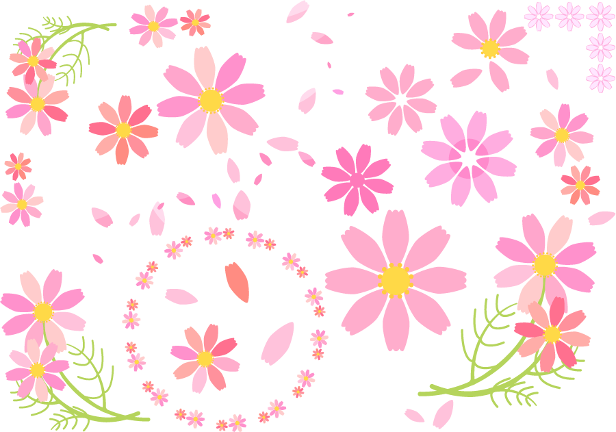 フリーイラスト コスモスの花や花びらなどのセット
