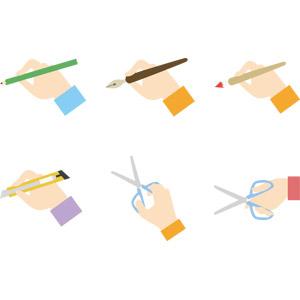 フリーイラスト, ベクター画像, AI, 人体, 手, 文房具, 筆記用具, 鉛筆(えんぴつ), 万年筆, 絵筆, カッターナイフ, はさみ, 書く