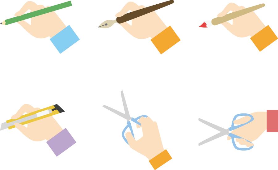 フリーイラスト 文房具を持つ手のセット